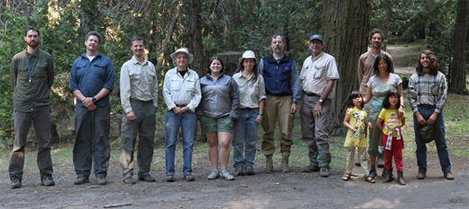 Participants from the 2013 collecting trip to Davis Camp, Sequoia National Forest, Kern Co. (left to right) John Sproul, Kip Will, Pete Oboyski, Diane Erwin, Jill Lorack, Joyce Gross, David Maddison, Bob Zuparko, Ken Schwab, Jeanny Wang, Ariel Cherbowsky, (front) Anika and Maya