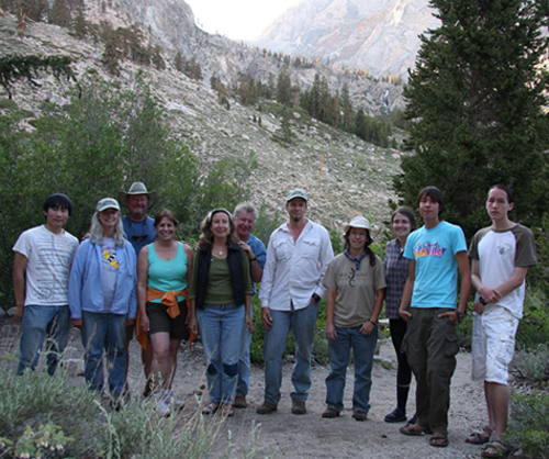 Participants from the 2010 collecting trip to Inyo National Forest, Inyo Co. (left to right) Kevin Yao, Cheryl Barr, Bob Brett, Roberta Brett, Denise Aalbu, Rolf Aalbu, Kip Will, Joyce Gross, Liz Morrill, Ian Will, Orion Will